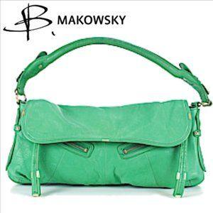 B MAKOWSKY Green Leather Handbag